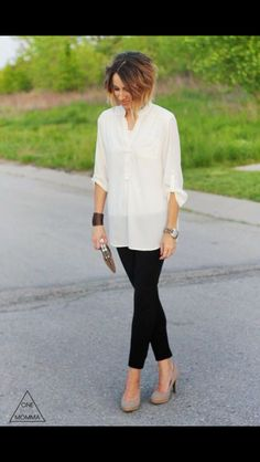 One Little Mama blog fashion. Black skinnies and loose cream button up top. Get her style for your stitch fix stylist today!