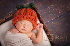 Baby Pumpkin Hat, Crochet Baby Hat, Halloween Hat, Halloween Costume, Photography Prop, Newborn Hat, Baby Boy Hat, Baby Girl Hat by InHsTyme on Etsy https://www.etsy.com/listing/79007215/baby-pumpkin-hat-crochet-baby-hat