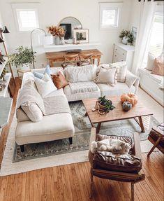 Fall Living Room, White Living Rooms, Living Room Decor Cozy, Bedroom Decor, Modern Farmhouse Living Room Decor, Modern Farmhouse Interiors, Living Room Modern, Interior Desing, Living Room Furniture