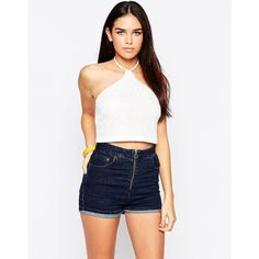 Motel Halter Top In Nanna Knit ($24) ❤ liked on Polyvore featuring tops, white, knit tops, crop top, halter top, halter neck top and halter-neck tops