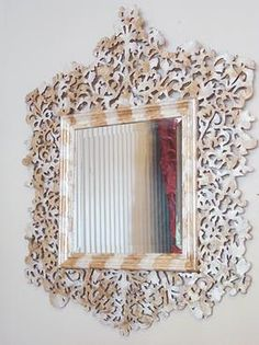 Cutout Capis Shell Tea Stained Beveled Mirror