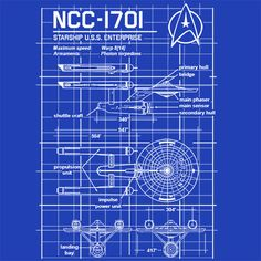 Enterprise NCC-1701 Blueprint Star Trek T-Shirt Funny Cheap Tees TextualTees.com - 1