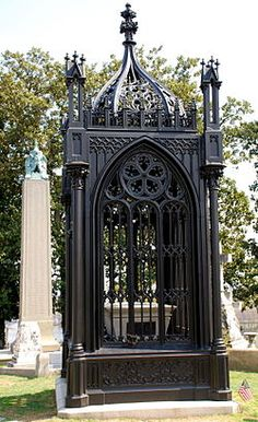 "Hollywood Cemetery in Richmond, VA. The Victorian Gothic, cast iron tomb of James Monroe, (designed by Albert Lybrock) it has been given the local name as the ""birdcage,"" was erected in Hollywood Cemetery in 1859."