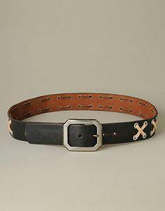 Men's Belts Leather Stitched & Studded Belt at TRUE RELIGION