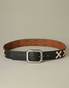 Men's Belts Leather Stitched & Studded Belt at TRUE RELIGION