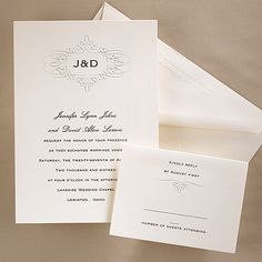 """The classic design enclosing your initials adds a touch af tradition to this simple ecru card.  5 1/2"""" x 7 3/4"""""""
