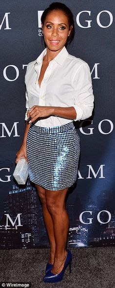 Timeless beauty: Carrying a silver box clutch it's hard to imagine Jada has been in the entertainment industry for 35 years