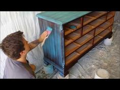 Shabby Chic Dry Brushing with Turquoise Paint - Start to Finish - YouTube