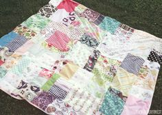 Hey friends! I hope you had a lovely weekend. I spent a good part of it outside, and while enjoying the sun I thought it might be nice to have a cute blanket to lay on... specifically for the beach and picnics. I hurried down to my sewing room and threw this patchwork one together using a bunch of s