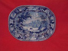 Dark Blue Staffordshire Grapevine Border Windsor Castle Platter Wood CA 1825 | eBay