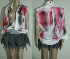 Bloody zombie shirt and  tutu Girl Woman cosplay Suicide squad Fancy costume