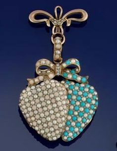 A Victorian gold, turquoise, coral and rose-cut diamond twin heart brooch. Composed of two overlapping hinged heart lockets, one pavé set with cabochon turquoise and rose-cut diamond, the other coral, corallium, and rose-cut diamond, to a turquoise, coral and rose-cut diamond cluster bow surmount, circa 1880, to later associated bow brooch suspension.