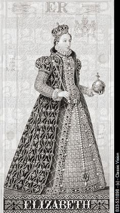 """Elizabeth I, 1533-1603 Queen of England 1558-1603.Engraved by W. Ridgway after J.L. Williams.From the book """"Illustrations of English and Scottish History"""" Volume 1."""