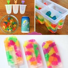 Such a great idea! All you need is a Popsicle mold, gimme bears, and Sprite!