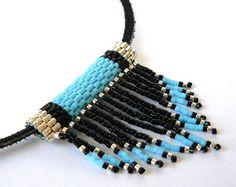 Turquoise Native American Beadwork Necklace Boho Fringed Southwestern Jewelry Bead Weaving
