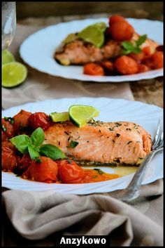 Salmon with Tomatoes by anyzkowo: When you cook salmon with tomatoes you can use less oil and  produce a very rich and healthy dish full of lycopene and omega-3. Add a spritz of lemon juice for a boost of vitamin C! #Salmon #Tomatoes #Healthy