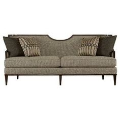 """Showcasing a distinctive half-moon back and tweed-inspired upholstery, this chic sofa brings handsome appeal to your living room or den.  Product: SofaConstruction Material: Hardwood, fabric, and foamColor: MineralFeatures:  Half-moon backAccent pillows included19.75"""" Seat heightDimensions: 37.5"""" H x 84.5"""" W x 34"""" D"""