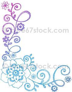 Hand-Drawn Sketchy Flowers and Vines Doodle Vector Illustration by blue67design, via Flickr
