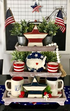 30 Awesome Fourth of July decorations ideas to DIY this Patriotic Day - Hike n D. - of July and memorial day deco - Fourth Of July Decor, 4th Of July Decorations, 4th Of July Party, July 4th, Memorial Day Decorations, Patriotic Crafts, July Crafts, Tiered Stand, Tray Decor