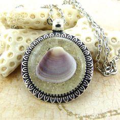 Purple Seashell Pendant Necklace with Sand by FloridaShellGirlShop
