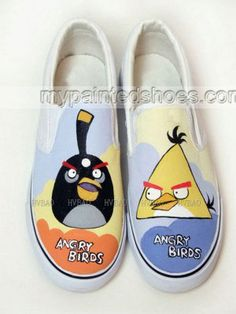 Hand Painted Angry Birds Green Yellow Blue Hand Painted Canvas S,Low-top Painted Canvas Shoes