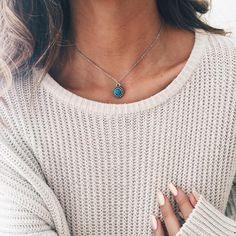 Dainty Turquoise Mandala Chain Choker