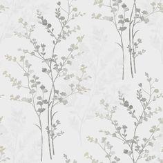 Arthouse Fern Motif Silver Wallpaper