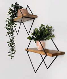 Wood Shelves, Floating Shelves, House Plants Decor, Cute Room Decor, Daughters Room, Metal Furniture, Wood And Metal, Decoration, Sweet Home