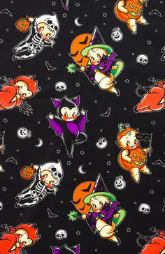 SOURPUSS HALLOWEEN IS EVERYDAY BAD GIRL SCARF - Our satiny Bad Girl Scarf is the perfect length for versatility! You'll love the multitude of ways you can style it - as a hair accessory, tied around your neck in a sassy bow, or tied onto a bag for a dash of fun. This all-over print of cavorting Halloween-costumed kewpie cuties is great for that spooky time of year or all year round!