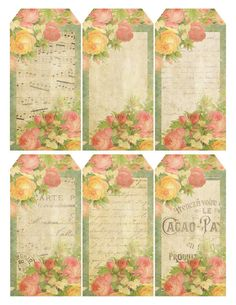 Free Printable Queen of Blossoms Vintage French Sheet Music Tags