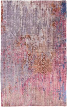 Capture the essence of a watercolor painting in the 2016 @pantonecolor Color of the Year hues - Serenity and Rose Quartz - with this hand knotted rug from Surya (WAT-5003).