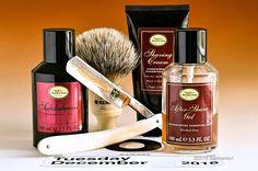 "The Art of Shaving sandalwood shave cream, aftershave gel and cologne, Kent badger brush, Schulze 6/8"" ""Tuesday"" straight razor, December 6, 2016.  ©Sarimento1"