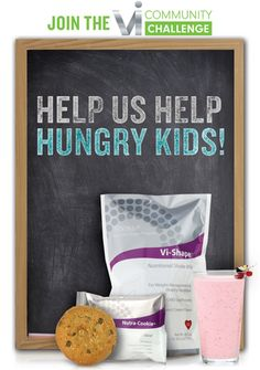 Help ViSalus feed hungry kids! Through the Vi-community challenge, the visalu community has donated more than two and a half million kid's shake meals to hungry children in communities just like yours.