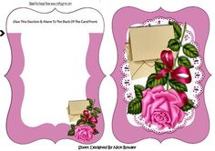 Pretty pink rose with envelope on lace bracket card insert on Craftsuprint designed by Nick Bowley - Pretty pink rose with envelope on lace bracket card/insert, makes a pretty card, can be seen in other designs - Now available for download!