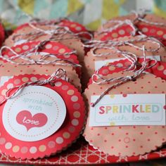 "Shortbread sprinkle cookies in round cookie packages (available through Kojo Designs) also worked as favors. ""I tried to make sure every kiddo headed out Sprinkle Party, Sprinkle Cookies, Baby Sprinkle, Birthday Cheers, Birthday Celebration, Birthday Parties, Birthday Ideas, Birthday Weekend, 3rd Birthday"