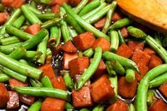 Jalna's Teriyaki Spam & Green Beans. My mom used to make this for us when she needed to fix something quick and cheap. It's such a comfort food for me!