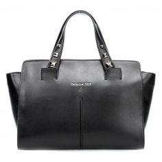 Golden Fly Handtasche glattes Leder schwarz