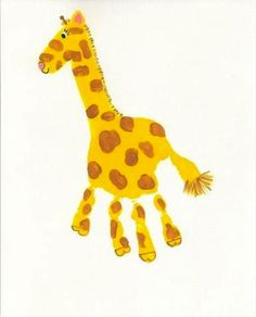 Darling Handprint Painting Ideas For Kids by Handmade Charlotte - Giraffe - #diy #plaidcrafts