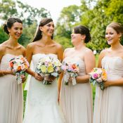 taupe bridesmaids dresses with fun colorful flowers Neutral Bridesmaid Dresses, Bridesmaid Flowers, Wedding Bridesmaids, Bridal Dresses, Bridal Dress Design, Bridal Style, Chicago Wedding, Wedding Colors, Wedding Inspiration