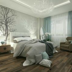 Wooden floors, strong color combo
