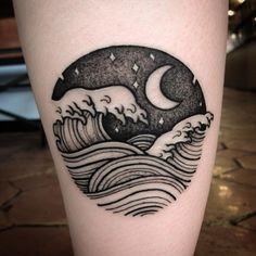 Ideas Tattoo Wave Moon Stars For 2019 Trendy Tattoos, Unique Tattoos, Black Tattoos, Body Art Tattoos, Tattoos For Guys, Nature Tattoo Sleeve Women, Sleeve Tattoos For Women, Roots Tattoo, Tattoo Wave