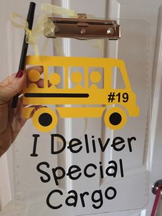 Teacher Gifts : Bus Driver gift personalized Clipboard I Deliver Special Cargo OR Volleyball, Dance, Soccer/Any sport… clear or storage clipboard case by ArtsyWallsAndMore on Etsy Bus Driver Appreciation, Teacher Appreciation Gifts, Teacher Gifts, Bus Driver Gifts, School Bus Driver, School Buses, School Gifts, School Fun, School Parties