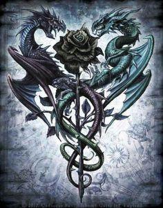 Dragon art for tattoo design