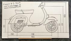 Groovecut erstellen gefräste Vespa Blueprint Wandbilder. Die Bilder werden mittels CNC auf HPL Kompaktplatten gefräst. Perfekt für dein Wohnzimmer! Motos Vespa, Vespa Scooters, Vintage Vespa, Dirt Bike Girl, Sidecar, Vespa 200, Vespa Special, Balance Bicycle, Wooden Scooter