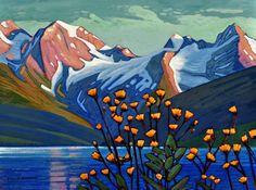 Wild Flowers - Jones Lake, by Nicholas Bott oil Art And Illustration, Illustrations, Landscape Art, Landscape Paintings, Posca Art, Oil Painting Pictures, Mountain Art, Mountain Paintings, Canadian Artists