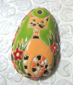 Deep Discount Stoneware Designer Pendant Cat bead by catsarelove, $18.00