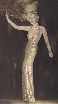 Gitta Alpar Hungarian Soprano in a gorgeous assuit gown, circa 1932.