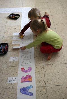 Filth Wizardry: Lowercase and uppercase floor alphabet game - Great idea to make learning fun and get the kids moving! Preschool Literacy, Preschool Letters, Learning Letters, Early Literacy, Literacy Activities, Educational Activities, Fun Learning, Activities For Kids, Teaching Resources