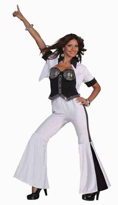 Feel the city breakin' and everybody shakin' cuz we're stayin' alive with our Disco Fever Diva Costume! This Disco Fever Diva Costume is THE Halloween 70's disco costume to get for any party you attend or host! This costume features a black and white jacket, disco-ball-styled corset top, and black and white flared pants. Additional disco ball and 70's costume accessories are available and sold separately.