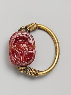 Carnelian scarab Period: Late Classical Date: early 4th century B.C. Culture: Etruscan Medium: Carnelian, gold